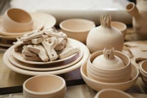 Roasted ceramic products without glaze closeup